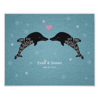 Custom Wedding Gift Personalized Dolphin Poster