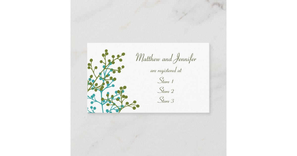 Wedding Gift Card Registry: Custom Wedding Gift Registry Cards
