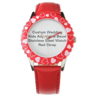 Custom Wedding Girls' Adjustable Bezel Red Watch