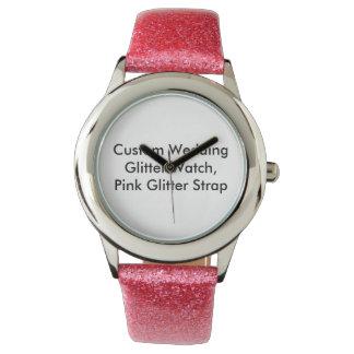 Custom Wedding Glitter Watch,  Pink Glitter Strap Wristwatches