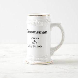 Custom Wedding Groomsman Beer Stein Coffee Mug