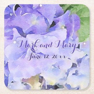 Custom Wedding Hydrangea Blue Lilac Square Paper Coaster