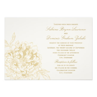 Custom Wedding Invitation   Floral Peony Design