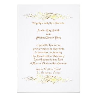 Custom Wedding invitation hearts two side print