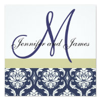 Custom Wedding Invitation Monogram Blue Damask