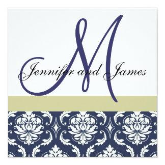 "Custom Wedding Invitation Monogram Blue Damask 5.25"" Square Invitation Card"