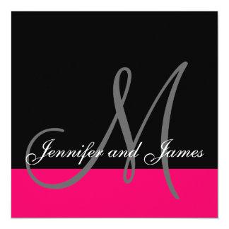 "Custom Wedding Invitation Monogram Name Pink Black 5.25"" Square Invitation Card"