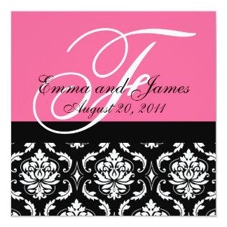"Custom Wedding Invitation Monogram Names Damask 5.25"" Square Invitation Card"