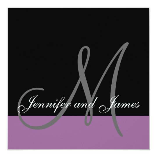 Custom Wedding Invitation Monogram Names Purple