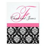 Custom Wedding Invitation Monogram Pink Damask