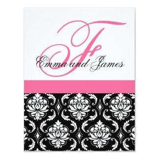 "Custom Wedding Invitation Monogram Pink Damask 4.25"" X 5.5"" Invitation Card"