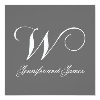 Custom Wedding Invitation Monogram W Names