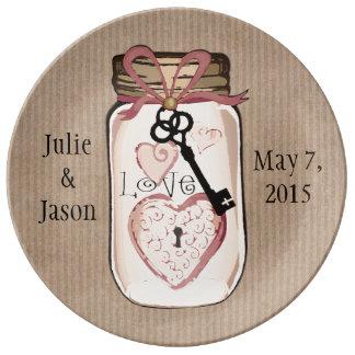 Custom Wedding Keepsake Mason Jar Porcelain Plate