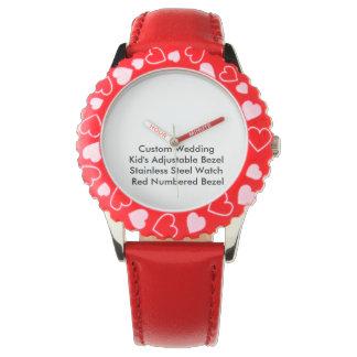 Custom Wedding Kids Adjustable Bezel S/S Red Watch