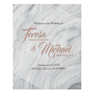 Custom, Wedding Marble Signage with names Faux Canvas Print