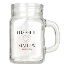 Custom Wedding Mason Jar | Rustic Monogram at Zazzle
