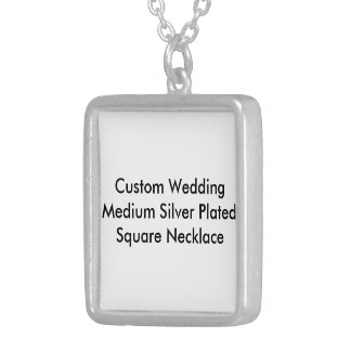 Custom Wedding Med Silver Plated  Square Necklace