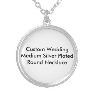 Custom Wedding Medium Silver Plated Round Necklace Pendants