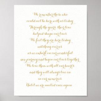Custom Wedding Memorial Sign Gold