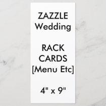 "Custom Wedding Menu & Program Cards 9""x4"" Vertical"