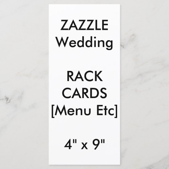 "Custom Wedding Menu & Program Cards 9""x4"" Vertical"