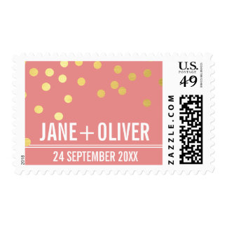 CUSTOM WEDDING modern plain gold confetti coral Stamp
