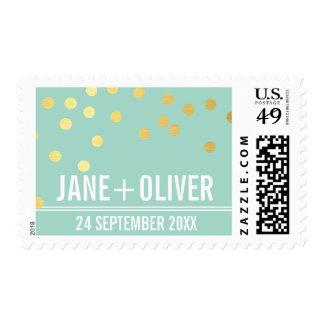 CUSTOM WEDDING modern plain gold confetti mint Stamp