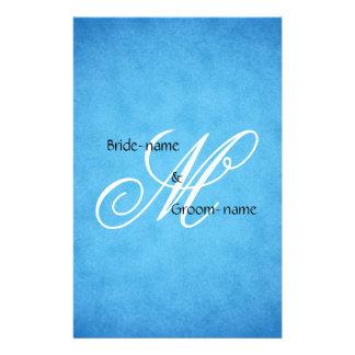 Custom Wedding Monogram Blue Vintage Style Flyer