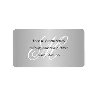 Custom Wedding Monogram Gray Black and White Address Label
