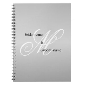 Custom Wedding Monogram Gray Black and White Note Book