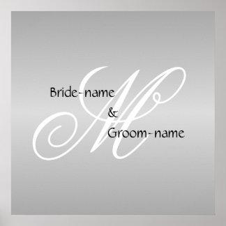 Custom Wedding Monogram Gray Black and White Poster