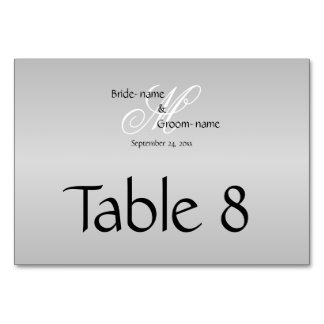 Custom Wedding Monogram Gray Black and White Table Card