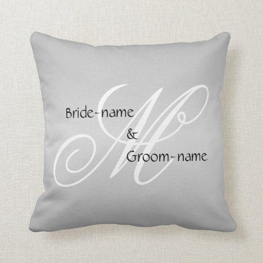 Black White And Gray Throw Pillows : Custom Wedding Monogram Gray Black and White Throw Pillow Zazzle
