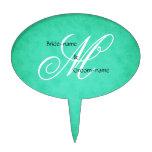 Custom Wedding Monogram Green Vintage Style Cake Picks