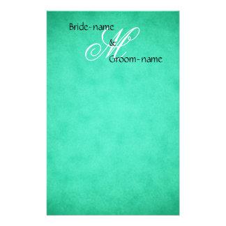 Custom Wedding Monogram Green Vintage Style Stationery Paper