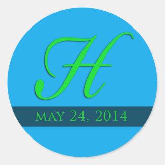 Custom Wedding monogram in light blue and green Classic Round Sticker