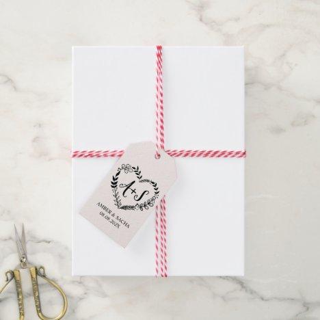 Custom Wedding Monogram Logo Gift Tags