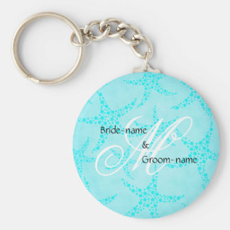 Custom Wedding Monogram Turquoise Starfish Basic Round Button Keychain
