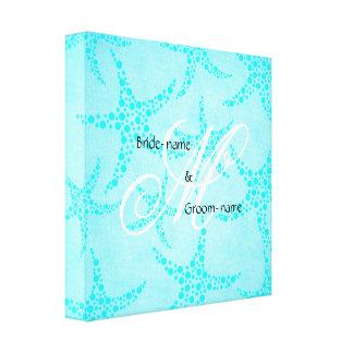 Custom Wedding Monogram Turquoise Starfish Canvas Print
