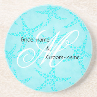 Custom Wedding Monogram Turquoise Starfish Coaster