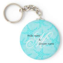 Custom Wedding Monogram Turquoise Starfish Keychain