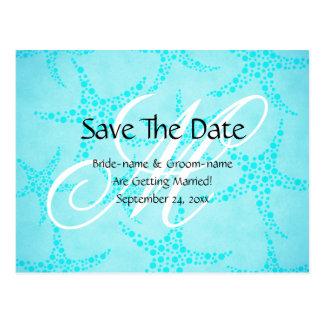 Custom Wedding Monogram Turquoise Starfish Postcard