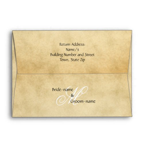 Custom Wedding Monogram Vintage Style Envelope