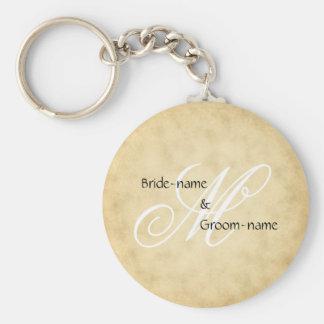 Custom Wedding Monogram Vintage Style Keychain