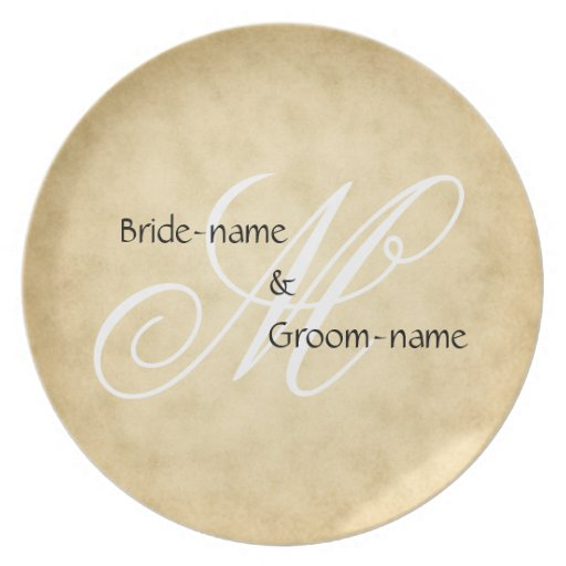 Custom Wedding Monogram Vintage Style Party Plate