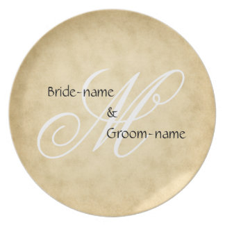 Custom Wedding Monogram Vintage Style Plate