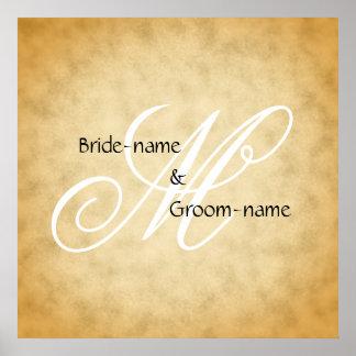 Custom Wedding Monogram Vintage Style Poster