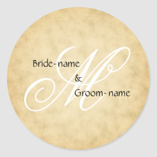 Custom Wedding Monogram Vintage Style Round Sticker