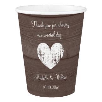 Custom wedding monogram wood grain paper cups
