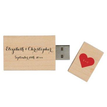 Valentines Themed Custom Wedding Name Monogram Heart Wood USB Drive
